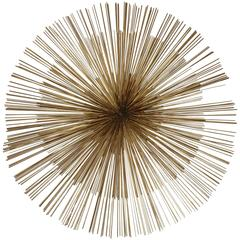 Signed Mid-Century Curtis Jere Brass Starburst Wall Sculpture