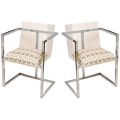 Lucite and Chrome Architectural Side Chairs Attributed to Charles Hollis Jones