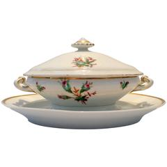 19th Century Haviland Limoges Moss Rose Lidded Tureen and Platter