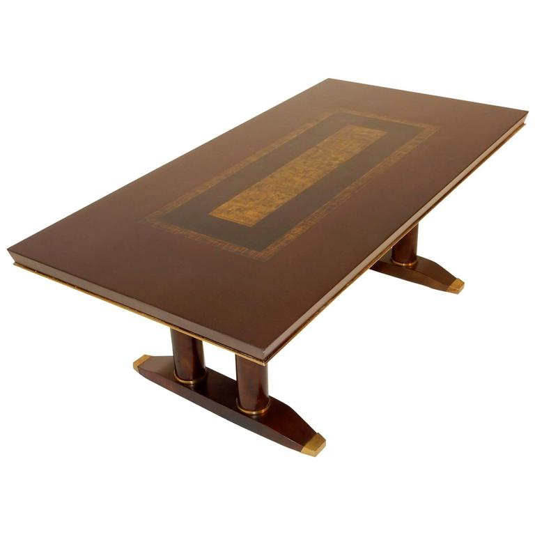 Mid Century Batistin Spade Of Paris Bronze Gold Leaf And Lacquer Coffee Table For Sale At 1stdibs
