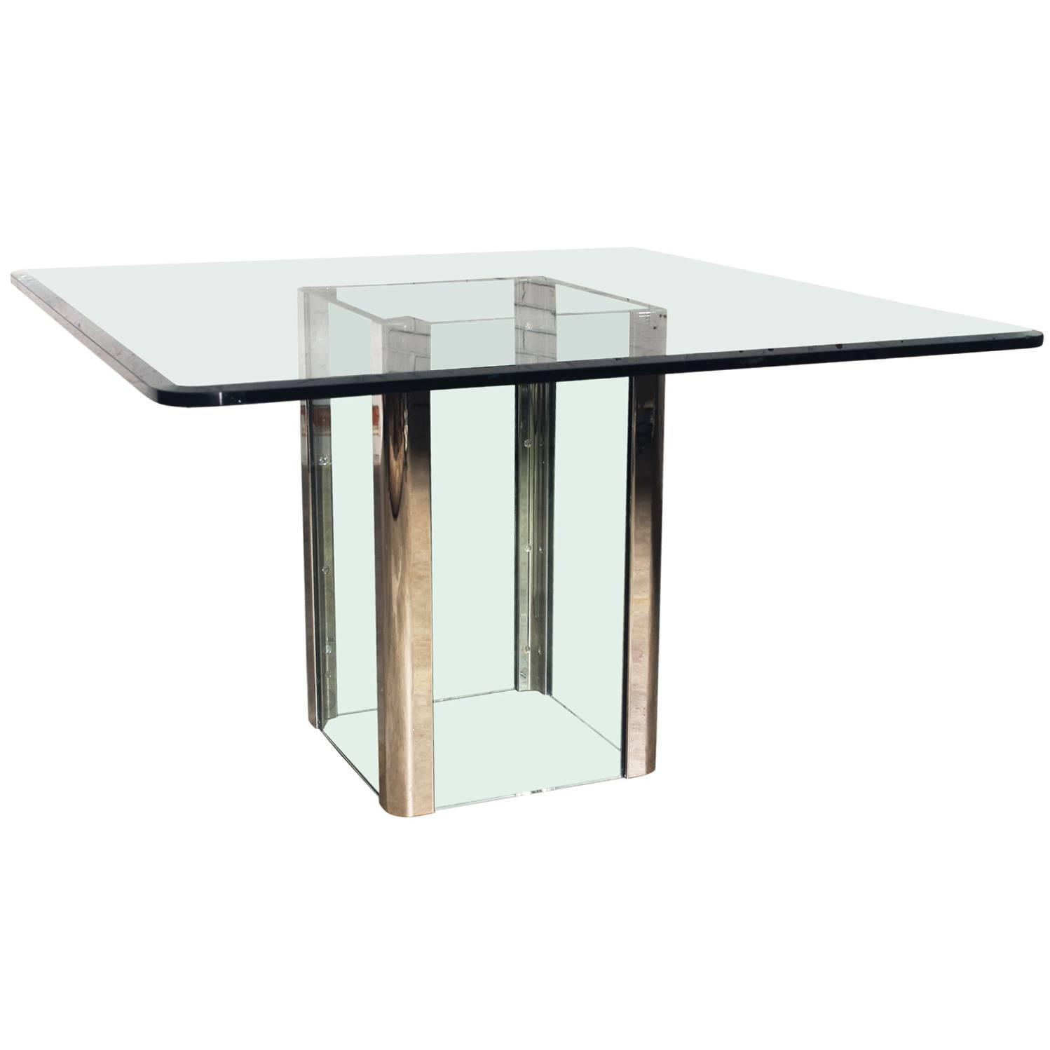 pace collection glass and chrome square dining table for