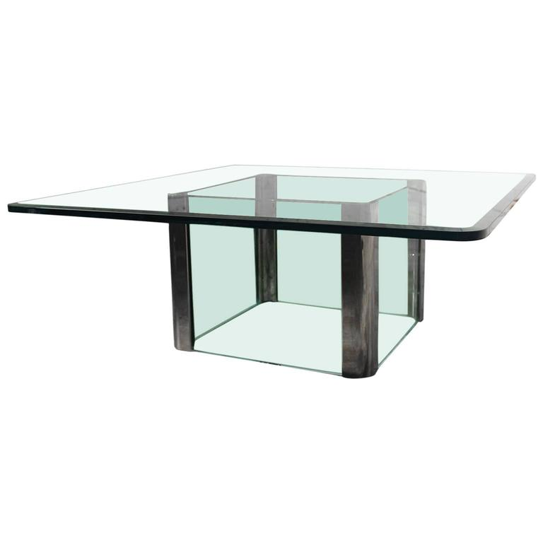 Pace Collection Chrome And Glass Square Coffee Table For