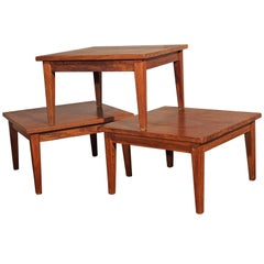 Mid-Century Modern Square Stackable Rosewood Tables, Set of Three