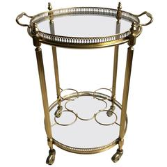 Round Vintage French Drinks Trolley or Bar Cart