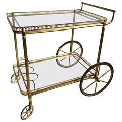 Vintage French Brass Drinks Trolley/Bar Cart