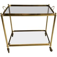 Vintage French Brass Drinks Trolley or Bar Cart