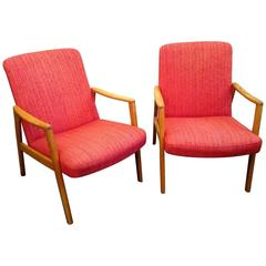 Mid-Century Swedish Oak and Wool Armchairs