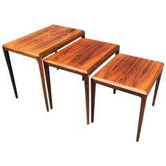 Rosewood Nesting Tables by Johannes Andersen for CFC Mobler