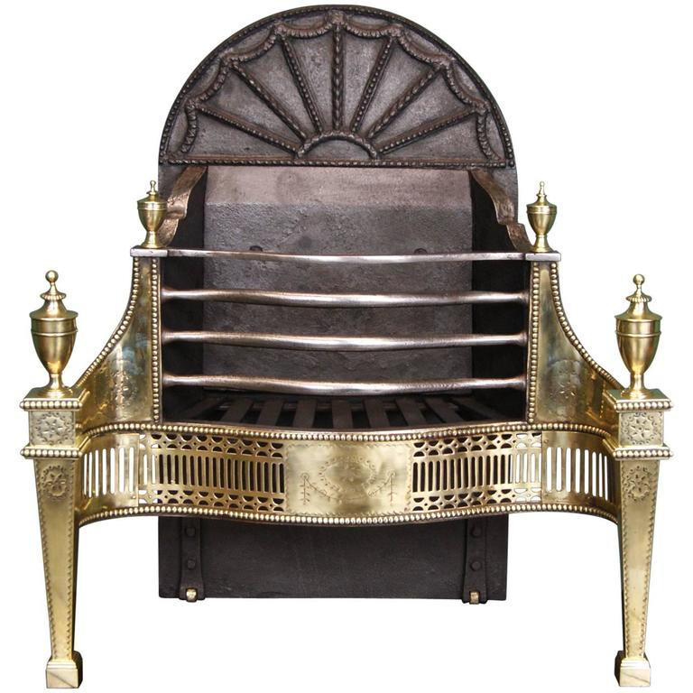 English 19th Century Brass Adam Style Fireplace Fire Grate For Sale At 1stdibs