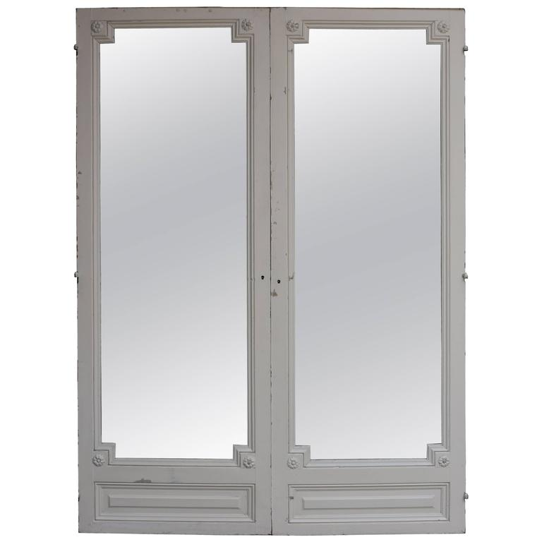 Pair of Antique French Double Mirror Doors For Sale