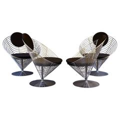 Set of Four Verner Panton Wire Cone Chairs