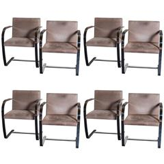 Set of Eight Knoll Brno Chrome and Original Leather Dining Chairs