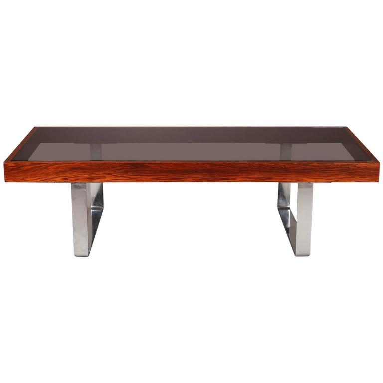 Coffee Table of 1970s with Chromed Steel Feet and Smoked Glass Plate
