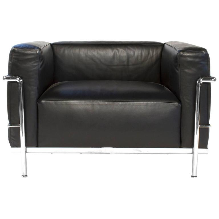 Cassina Lc3 Chair By Le Corbusier In Black Leather Modern