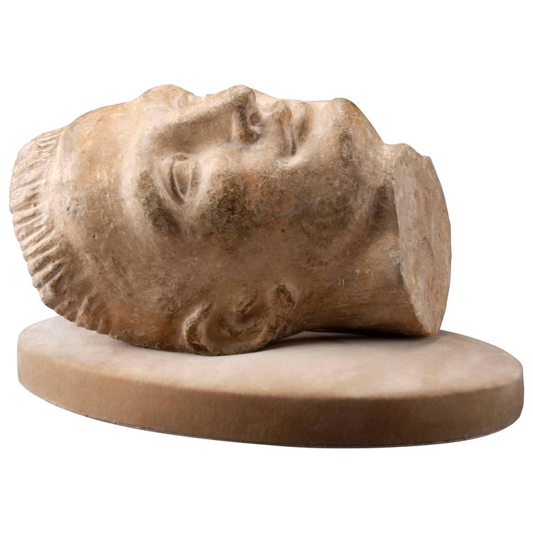 A French Patinated Plaster Sculpture of a Young Man's Head