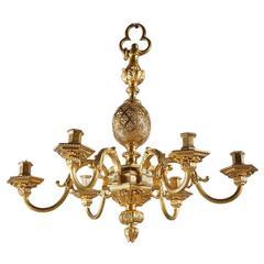19th Century Mazarin Style Ormolu Chandelier with Six Lights, 19th Century