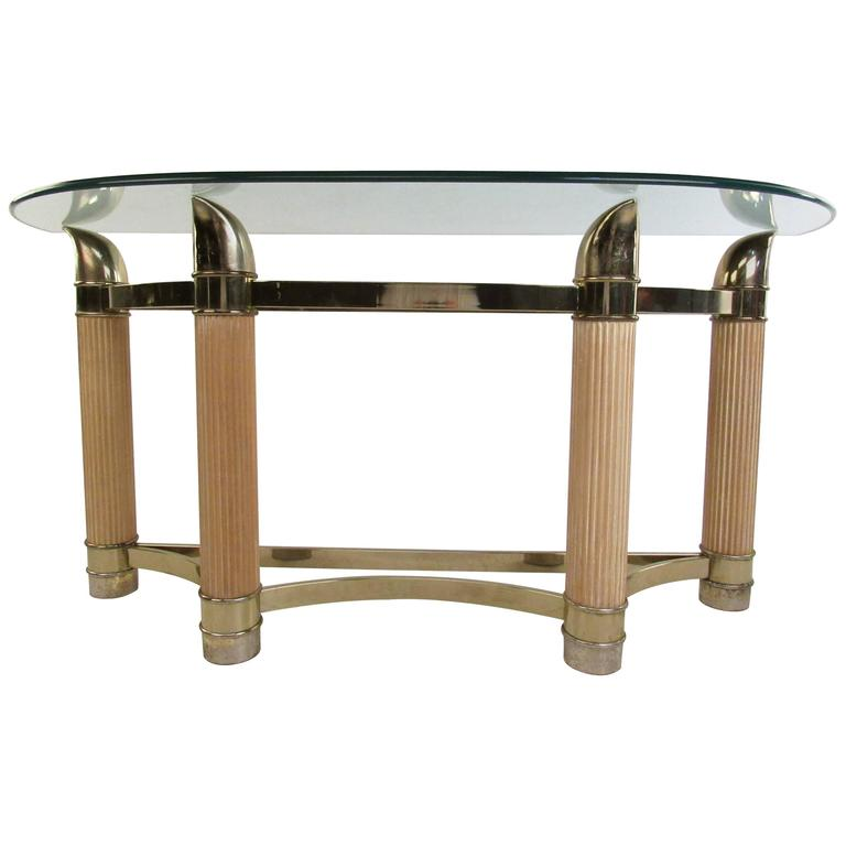 Vintage Modern Demilune Console Table For
