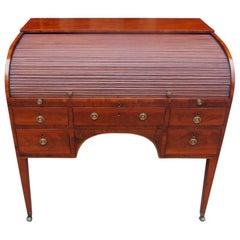 English Mahogany Tambour Satinwood Inlaid Writing Desk, Circa 1780