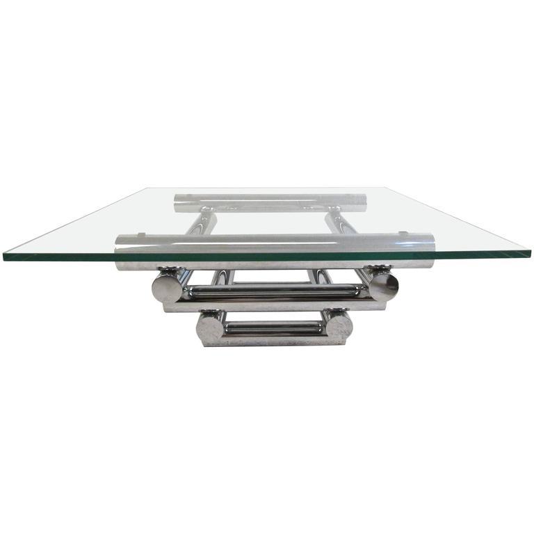Tubular Chrome Coffee Table: Mid-Century Modern Tubular Chrome Coffee Table In The