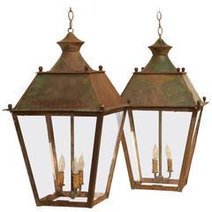 French Hanging Lanterns in Original Paint