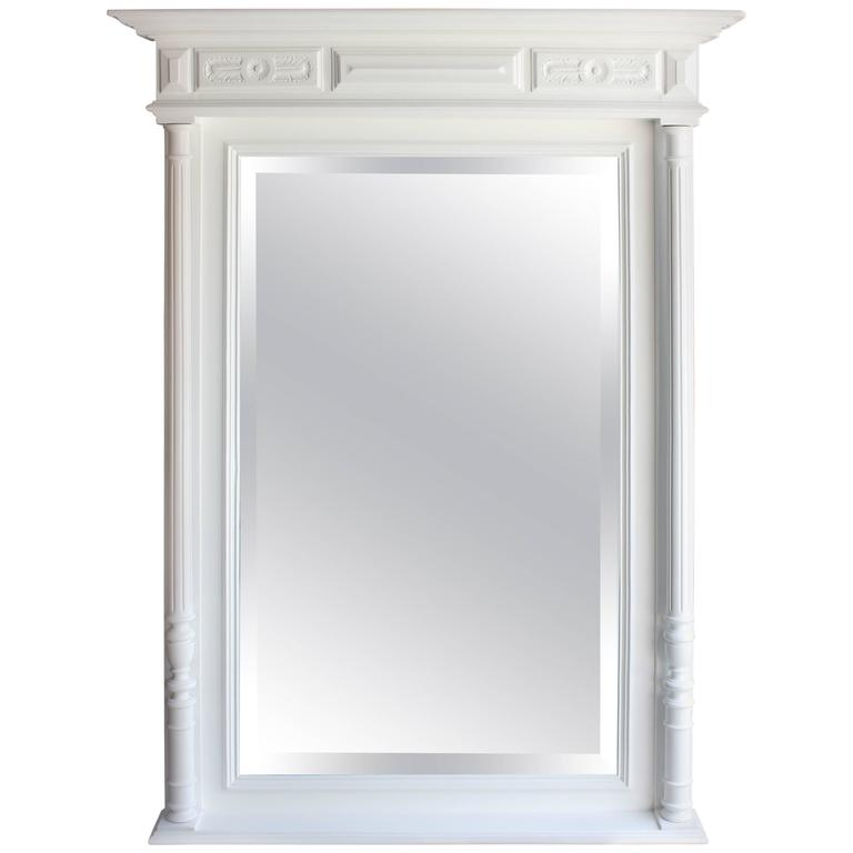 19th century french neoclassic white lacquered large wall for White tall wall mirror