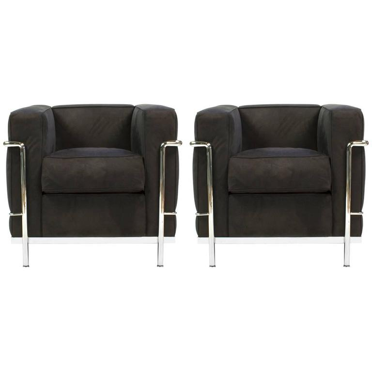 black cassina lc2 chair by le corbusier modern italy lounge for sale