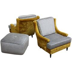 Pair of American Modern Lounge Chairs and Ottoman in Velvet and Chenille