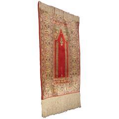 20th Century Turkish Silk Ghiordes Prayer Rug