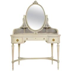 French Antique Painted Louis XVI Vanity with Oval Mirror