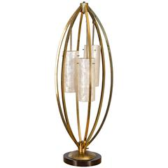 Brass And Capiz Shell Table Lamp