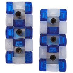 Blue White Glass Geometric Graphic Sconces style of Poliarte, 1960 1970, Italian