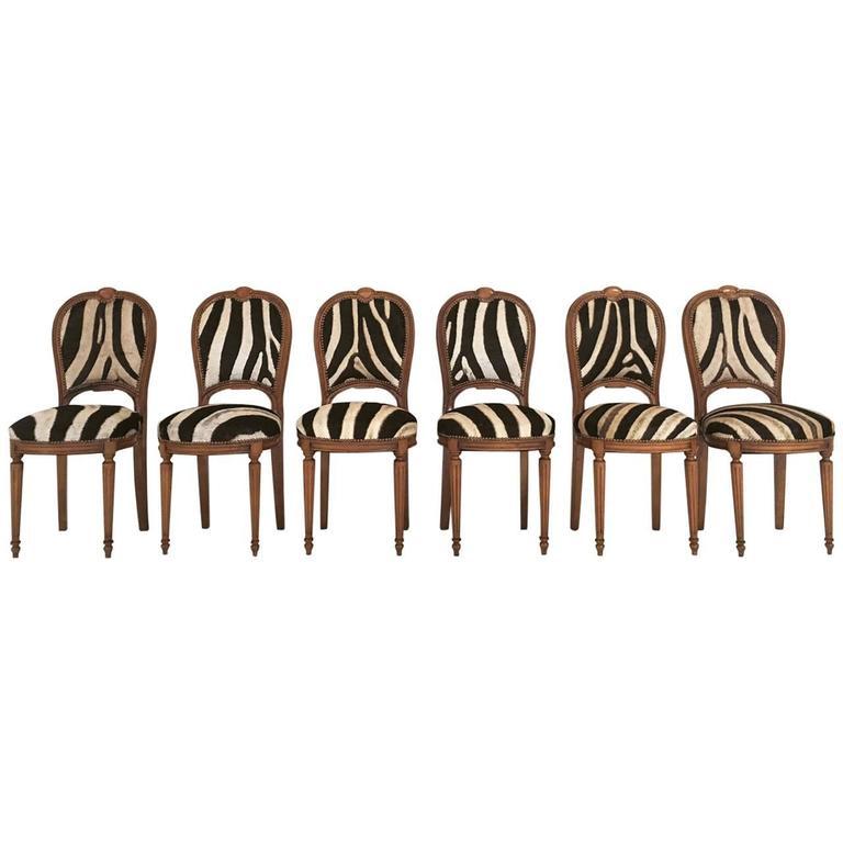 Vintage Maison Jansen Louis XVI Style Dining Chairs in Zebra Hide, Set of Six