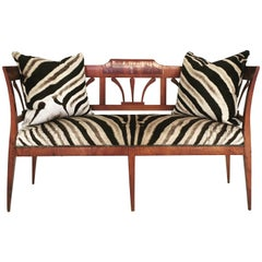 19th Century Fruitwood and Rosewood Settee in Zebra Hide with Zebra Pillows