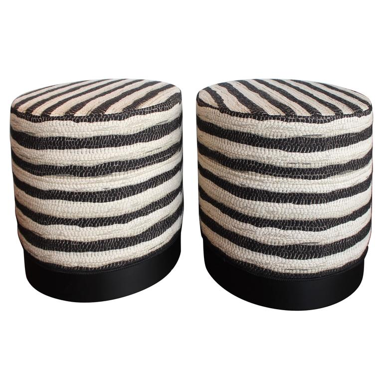 Black And White Stripe Ottomans At 1stdibs