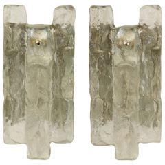 Pair of Large Ice Glass Kalmar Sconces