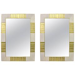 1970s Italian Pair of Vintage Gold Brass and White Ceramic Mosaic Mirrors