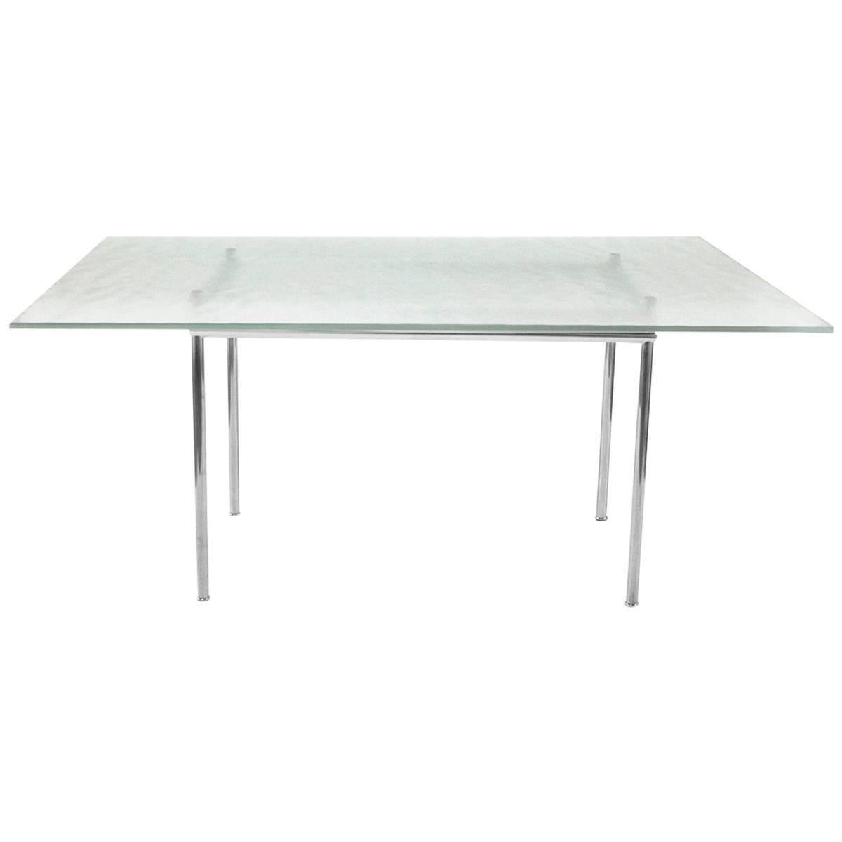 cassina glass top lc12 dining table by le corbusier modern italy for sale at 1stdibs. Black Bedroom Furniture Sets. Home Design Ideas