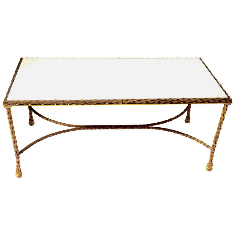 Coffee Table in Gilt Bronze by Maison Baguès