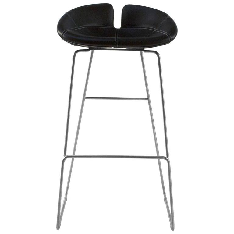 Moroso Black Leather Fjord High Bar Stool by Patricia Urquiola Italy 1  sc 1 st  1stDibs : leather and chrome bar stools - islam-shia.org