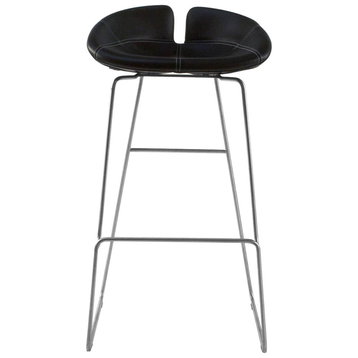 Moroso Black Leather Fjord High Bar Stool By Patricia