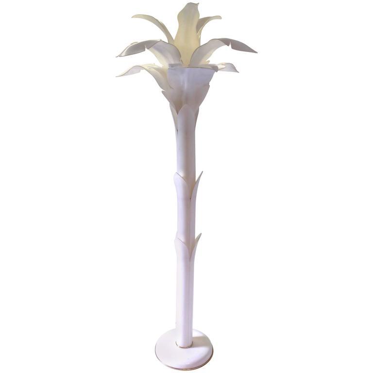 Floor Lamp in White Lucite