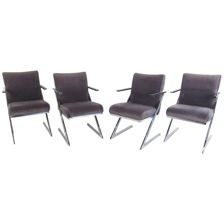 Set of Four Dining Chairs by Milo Baughman for Design Institute of America For Sale