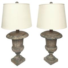 Early 20th Century Cast Iron Urn Lamps, Pair