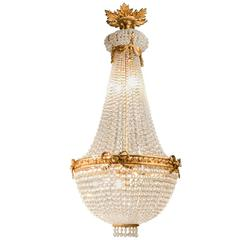20th Century Lobmeyr Milano Style Pendant Lamp in gilt brass with crystal beads