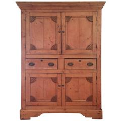 Wonderful Antique Rustic Pine Linen Press Cabinet
