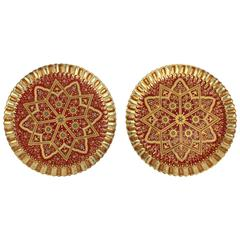 Two Jeweled & Gilt Burgundy Ground Copeland Porcelain Orientalist Cabinet Plates