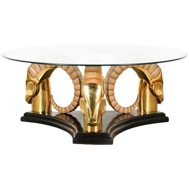 Mid-Century Brass Ram Head Coffee Table With Glass Top For