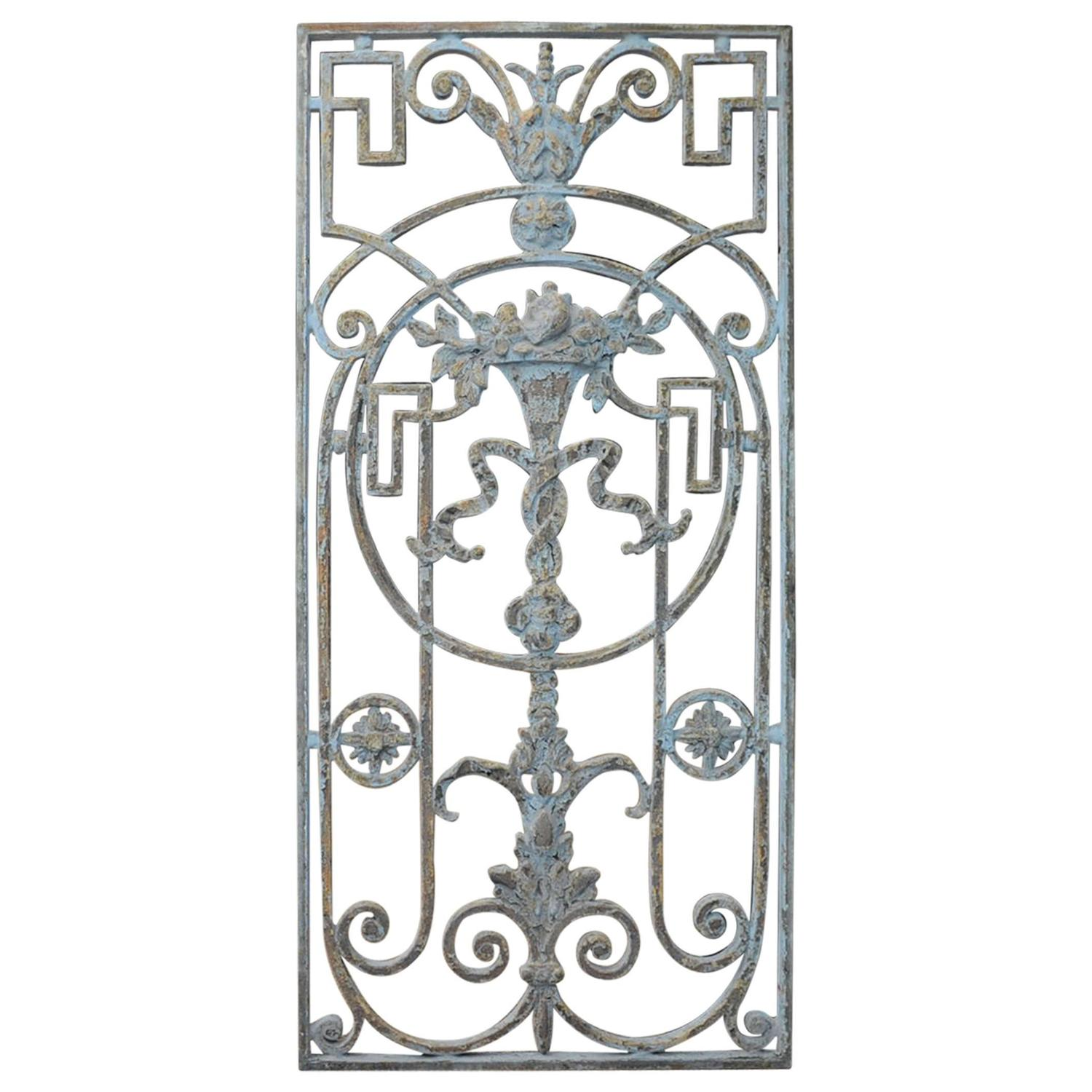 Crystal door knobs on french doors - 1900 French Entrance Doors Cast Iron Flower Gate Original Grey Patina
