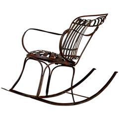 Rocking Chair Metal, French, circa 19th Century