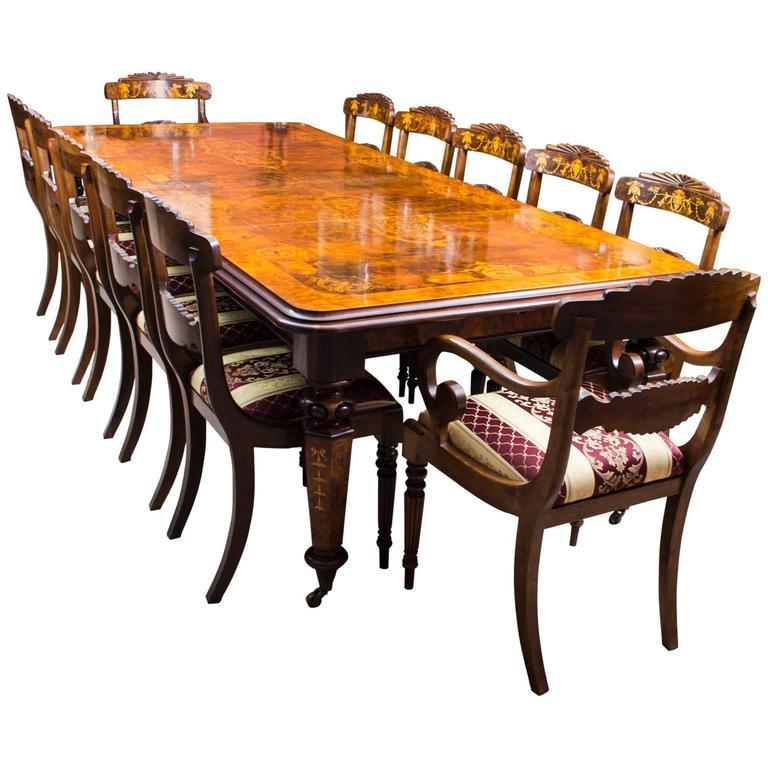 Stunning Bespoke Handmade Burr Walnut Marquetry Dining Table 12 Chairs